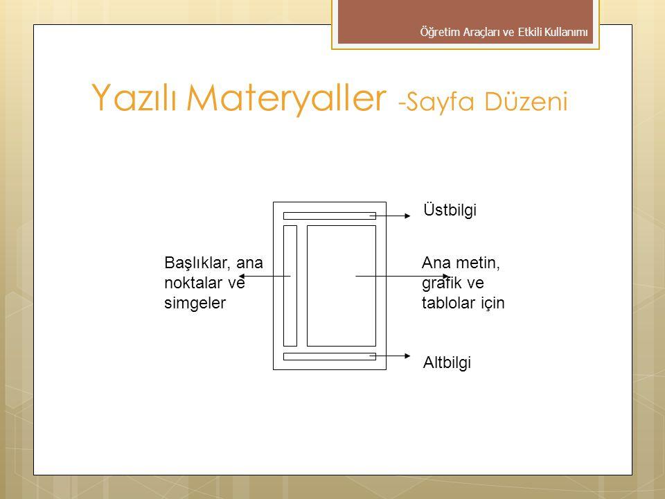 Başlıklar, ana noktalar ve simgeler Ana metin, grafik ve tablolar için Üstbilgi Altbilgi Yazılı Materyaller -Sayfa Düzeni Öğretim Araçları ve Etkili Kullanımı