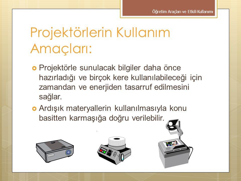 Projektörlerin Kullanım Amaçları:  Projektörle sunulacak bilgiler daha önce hazırladığı ve birçok kere kullanılabileceği için zamandan ve enerjiden tasarruf edilmesini sağlar.
