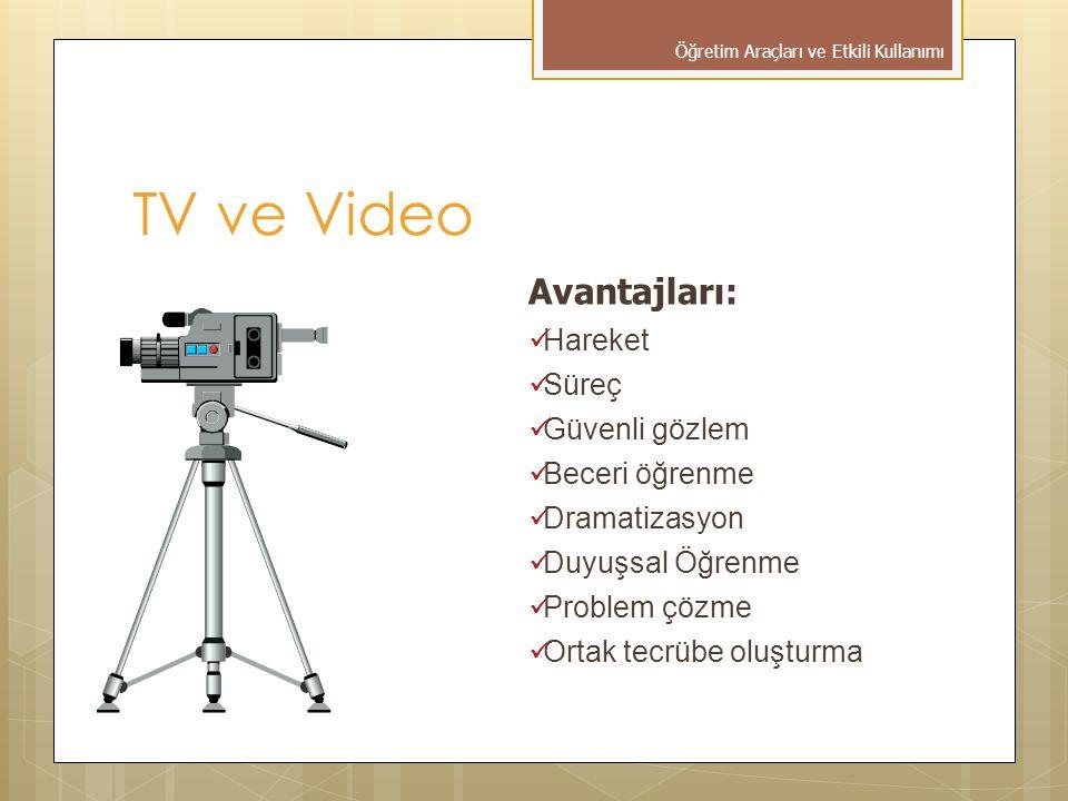 Avantajları:  Hareket  Süreç  Güvenli gözlem  Beceri öğrenme  Dramatizasyon  Duyuşsal Öğrenme  Problem çözme  Ortak tecrübe oluşturma TV ve Video Öğretim Araçları ve Etkili Kullanımı