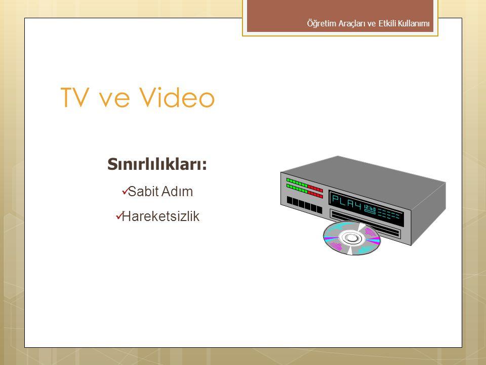 TV ve Video Sınırlılıkları:  Sabit Adım  Hareketsizlik Öğretim Araçları ve Etkili Kullanımı
