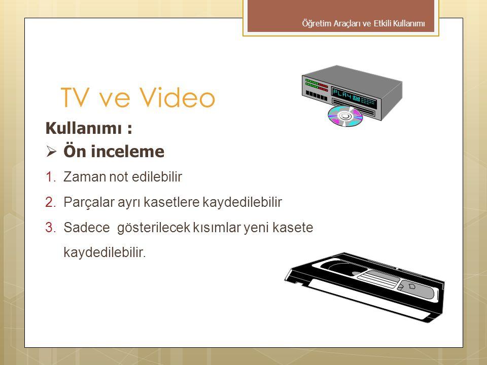 Kullanımı :  Ön inceleme 1.Zaman not edilebilir 2.Parçalar ayrı kasetlere kaydedilebilir 3.Sadece gösterilecek kısımlar yeni kasete kaydedilebilir.
