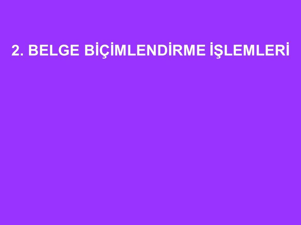 2. BELGE BİÇİMLENDİRME İŞLEMLERİ