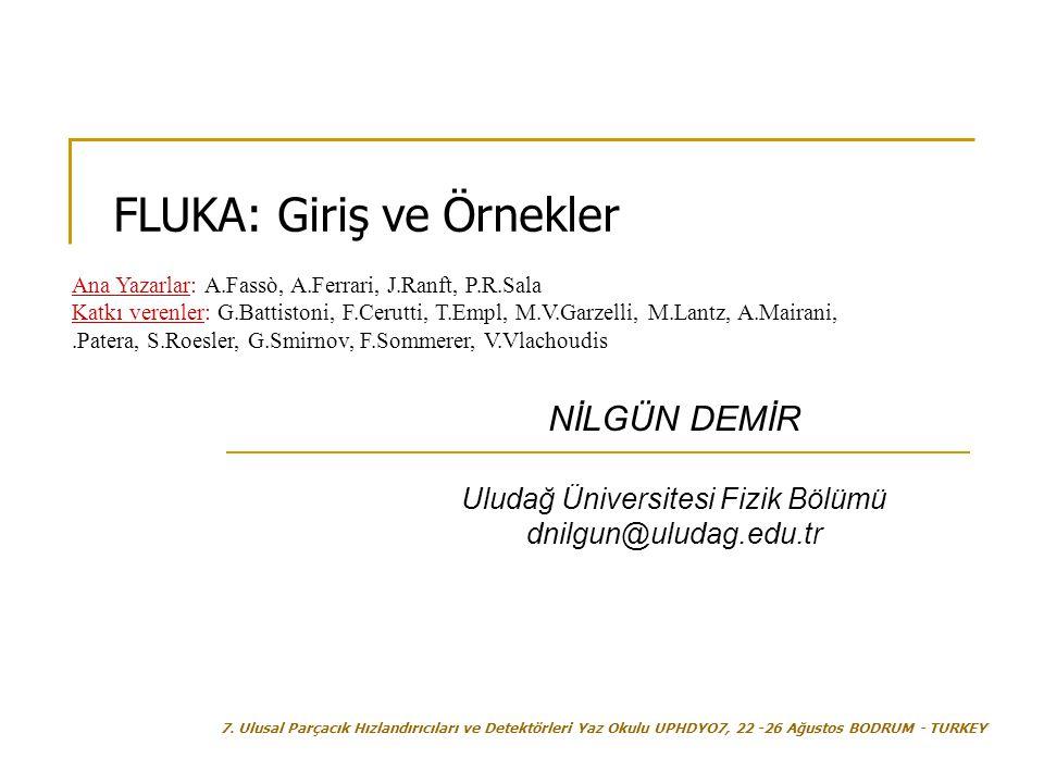 NİLGÜN DEMİR Uludağ Üniversitesi Fizik Bölümü dnilgun@uludag.edu.tr FLUKA: Giriş ve Örnekler 7. Ulusal Parçacık Hızlandırıcıları ve Detektörleri Yaz O