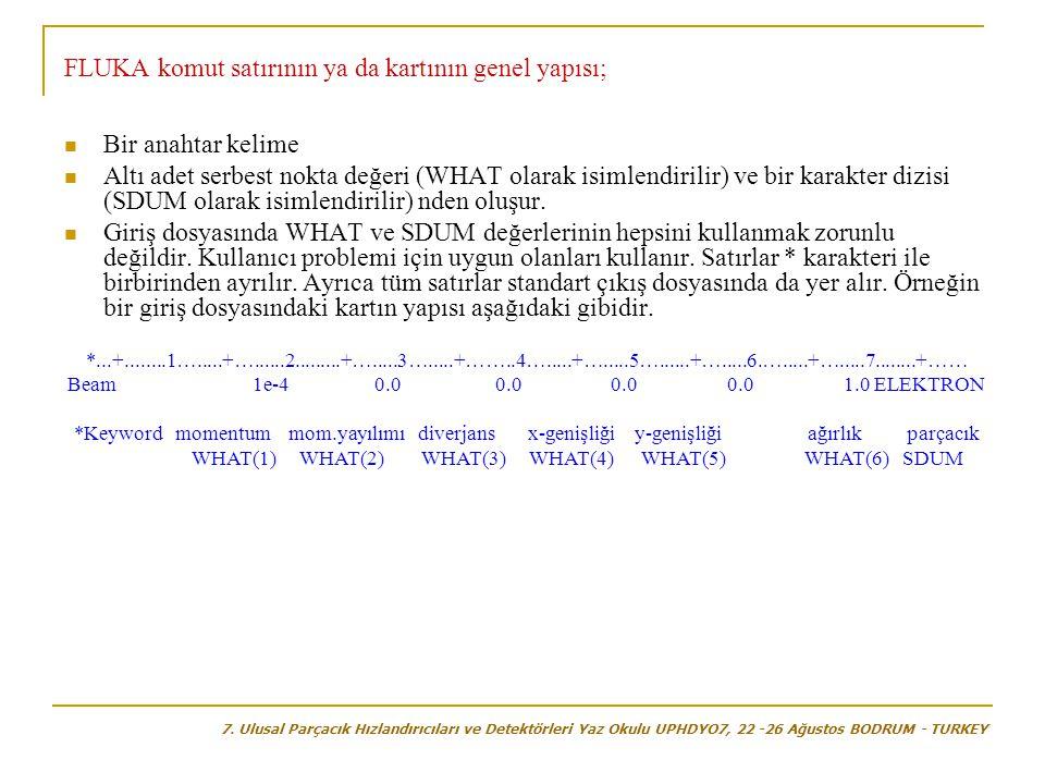 FLUKA komut satırının ya da kartının genel yapısı;  Bir anahtar kelime  Altı adet serbest nokta değeri (WHAT olarak isimlendirilir) ve bir karakter dizisi (SDUM olarak isimlendirilir) nden oluşur.