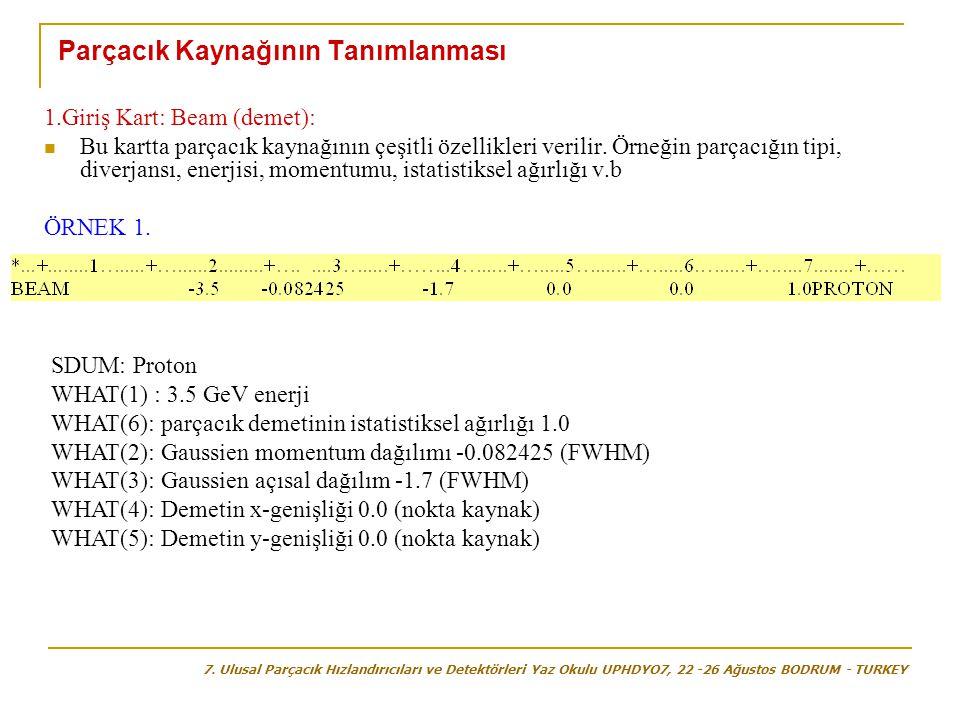 Parçacık Kaynağının Tanımlanması 1.Giriş Kart: Beam (demet):  Bu kartta parçacık kaynağının çeşitli özellikleri verilir. Örneğin parçacığın tipi, div