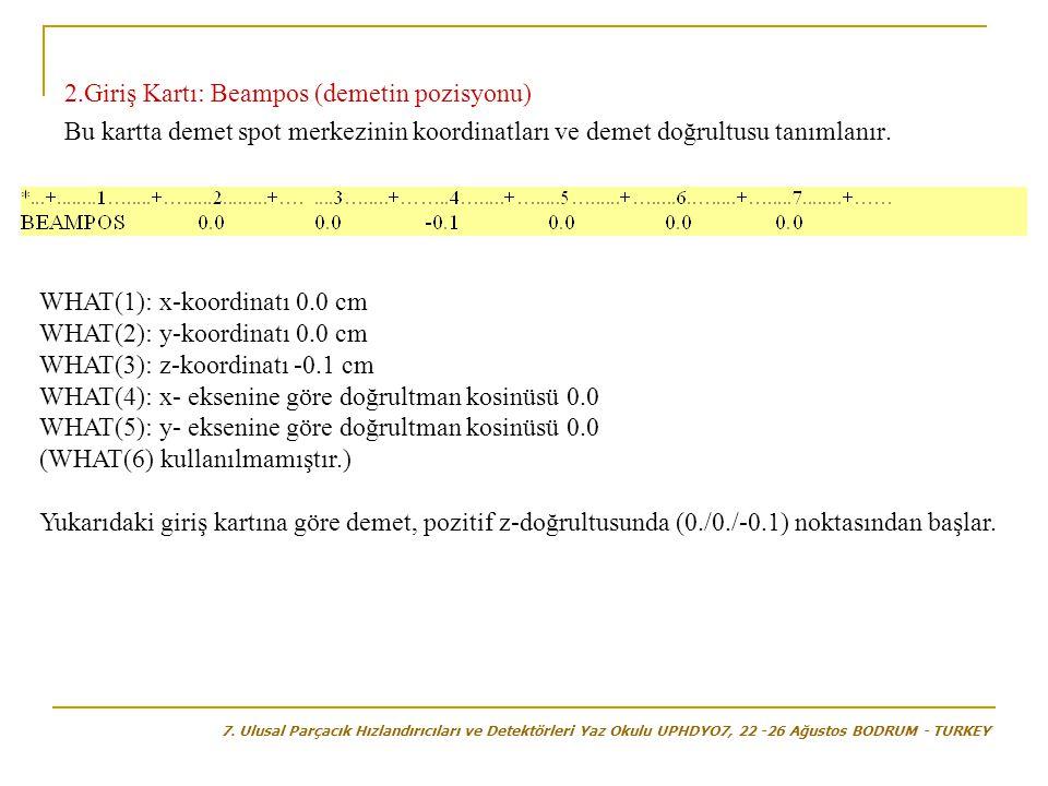 2.Giriş Kartı: Beampos (demetin pozisyonu) Bu kartta demet spot merkezinin koordinatları ve demet doğrultusu tanımlanır. WHAT(1): x-koordinatı 0.0 cm