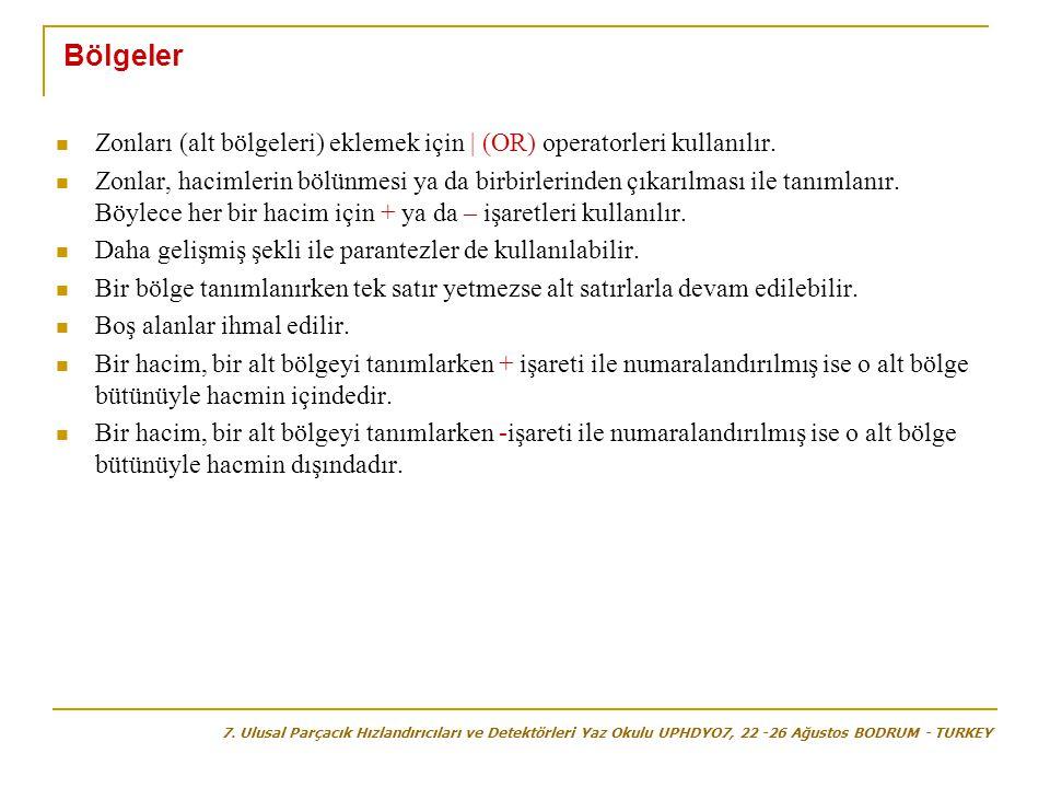 Bölgeler  Zonları (alt bölgeleri) eklemek için | (OR) operatorleri kullanılır.