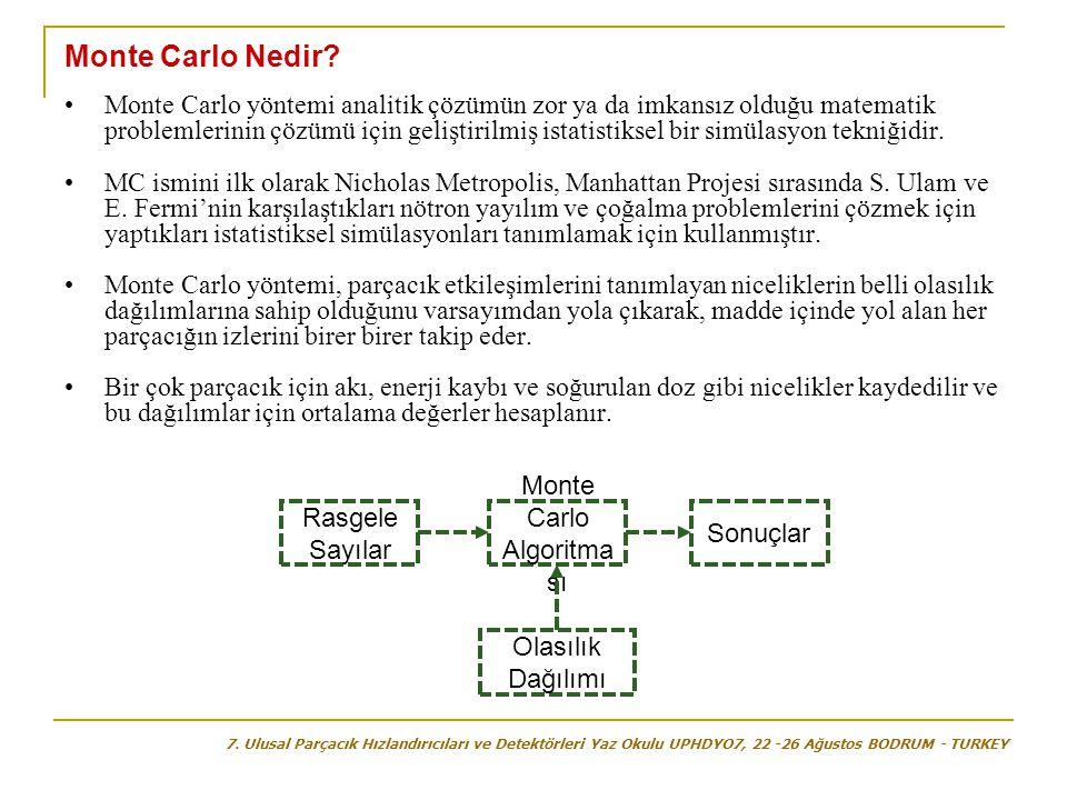 Monte Carlo Nedir? •Monte Carlo yöntemi analitik çözümün zor ya da imkansız olduğu matematik problemlerinin çözümü için geliştirilmiş istatistiksel bi