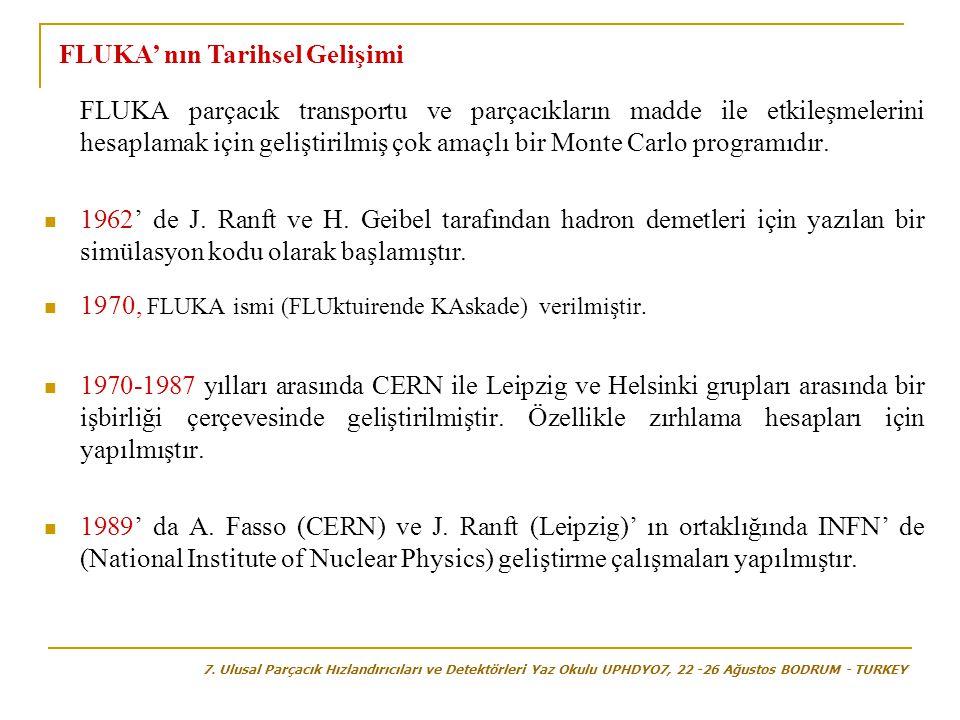  1990' da ilk kez MCNPX Monte Carlo kodunun yüksek enerji fiziği kısmında yer alması ile FLUKA'nın kullanılmasına resmen başlanmıştır.