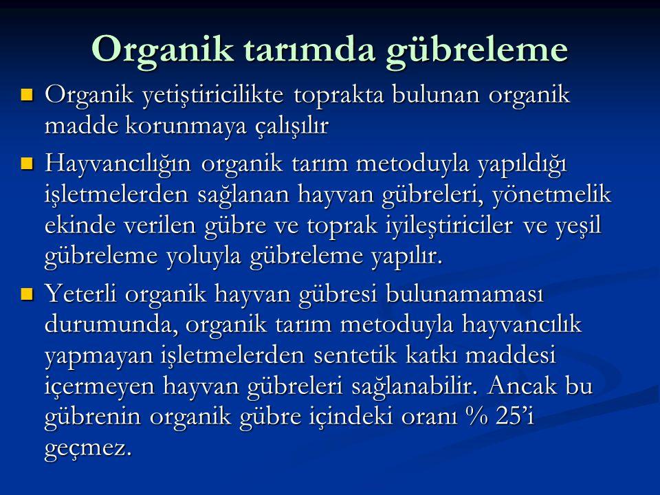 Organik tarımda gübreleme  Organik yetiştiricilikte toprakta bulunan organik madde korunmaya çalışılır  Hayvancılığın organik tarım metoduyla yapıld