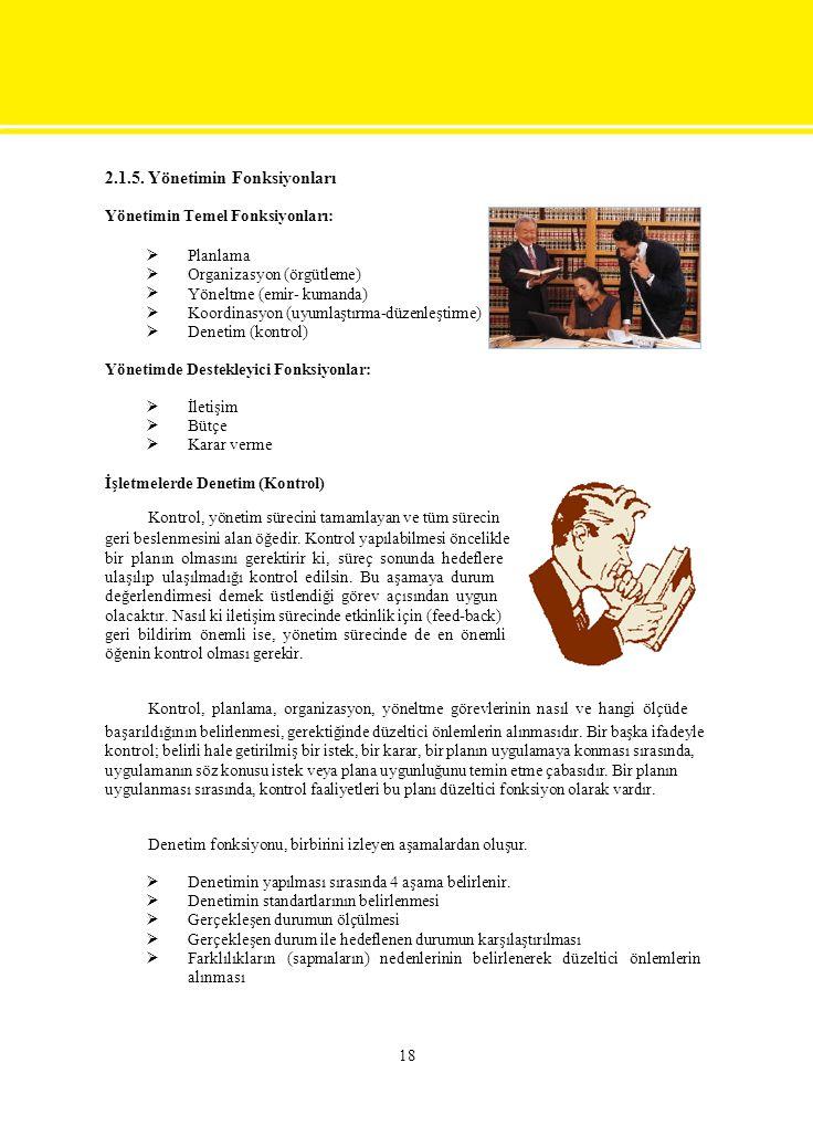 2.1.5. Yönetimin Fonksiyonları Yönetimin Temel Fonksiyonları:  Planlama Organizasyon (örgütleme) Yöneltme (emir- kumanda) Koordinasyon (uyum