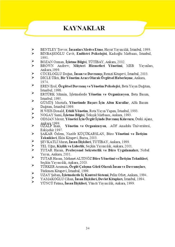  BENTLEY Trevor, İnsanları Motive Etme, Hayat Yayıncılık, İstanbul, 1999. BİNBAŞIOĞLU Cavit, Endüstri Psikolojisi, Kadıoğlu Matbaası, İstanbul,