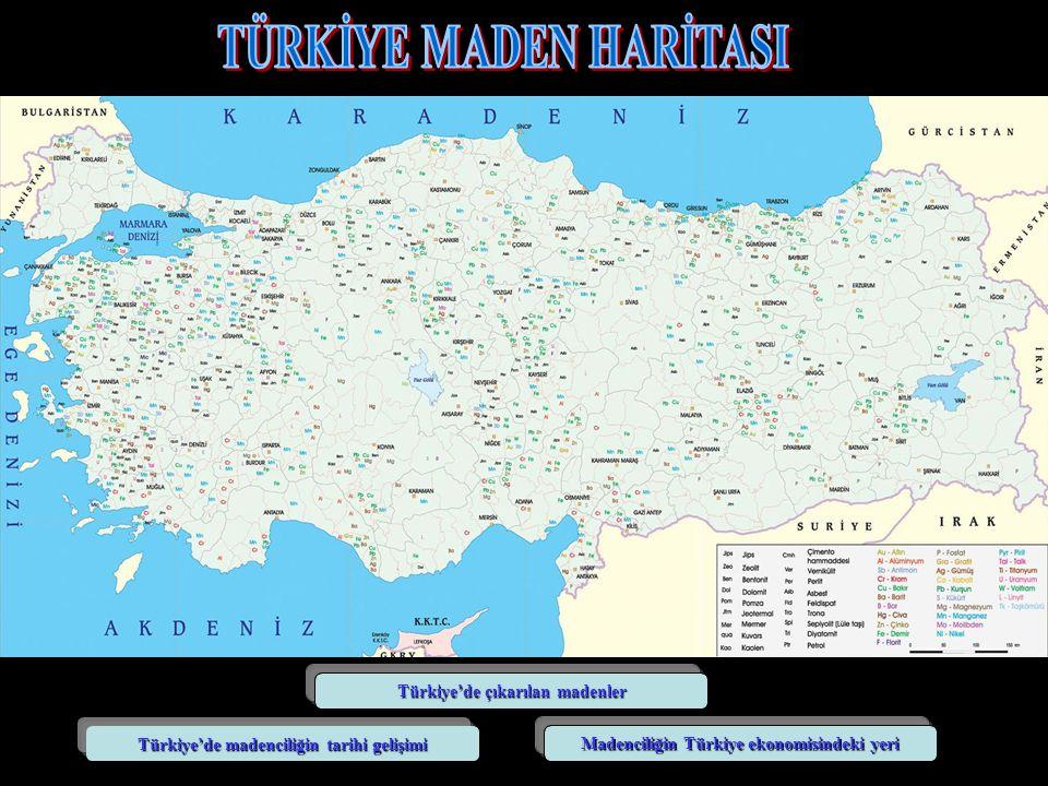 Türkiye'de çıkarılan madenler Türkiye'de madenciliğin tarihi gelişimi Madenciliğin Türkiye ekonomisindeki yeri