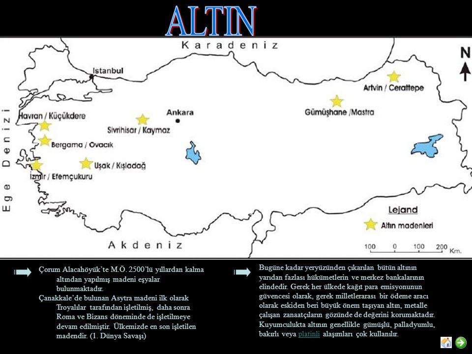 Çorum Alacahöyük'te M.Ö.2500'lü yıllardan kalma altından yapılmış madeni eşyalar bulunmaktadır.