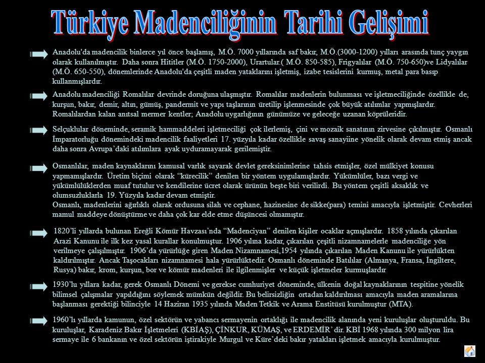 Anadolu da madencilik binlerce yıl önce başlamış, M.Ö.