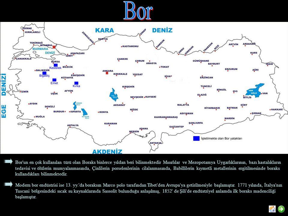 Bor un en çok kullanılan türü olan Boraks binlerce yıldan beri bilinmektedir Mısırlılar ve Mezopotamya Uygarlıklarının, bazı hastalıkların tedavisi ve ölülerin mumyalanmasında, Çinlilerin porselenlerinin cilalanmasında, Babillilerin kıymetli metallerinin ergitilmesinde boraks kullandıkları bilinmektedir.
