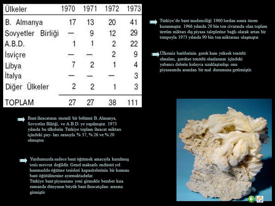 Türkiye'de bant madenciliği 1960 lordan sonra önem kazanmıştır.