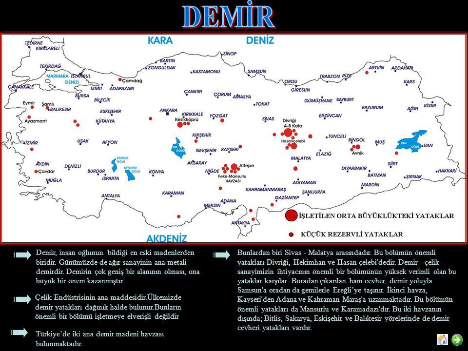 Alüminyum hammaddesi olarak en önemli kaynaklarımız Konya Seydişehir ve Akseki bölgesindeki yataklardır.