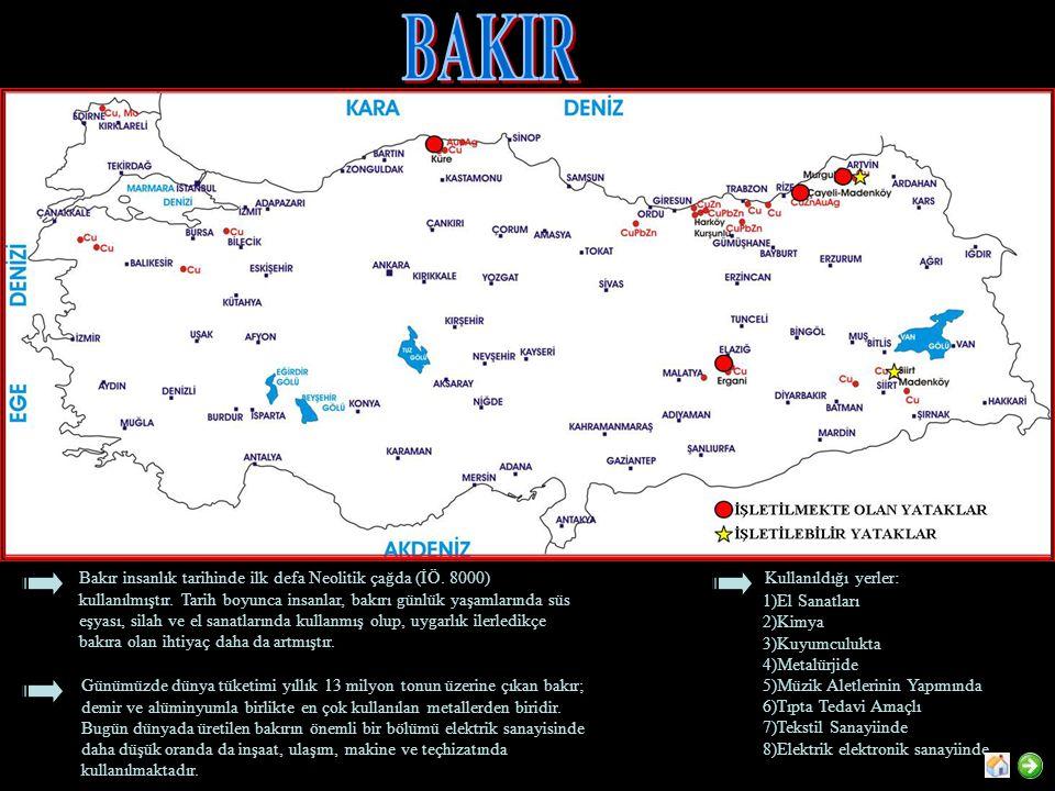Kullanım Alanları : Türkiyede manganez kullanım alanları Dünyadaki kullanım alanlarıyla paralellik gösterir.