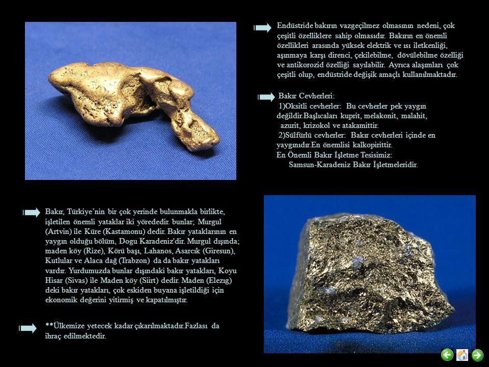 Bursa-İnegöl-Soğukpınar-Madenbeleni Tepe, Niğde-Çamardı-Celaller, Niğde-Ulukışla-Bolkardağı-Sulucadere cevherleşmeleridir.