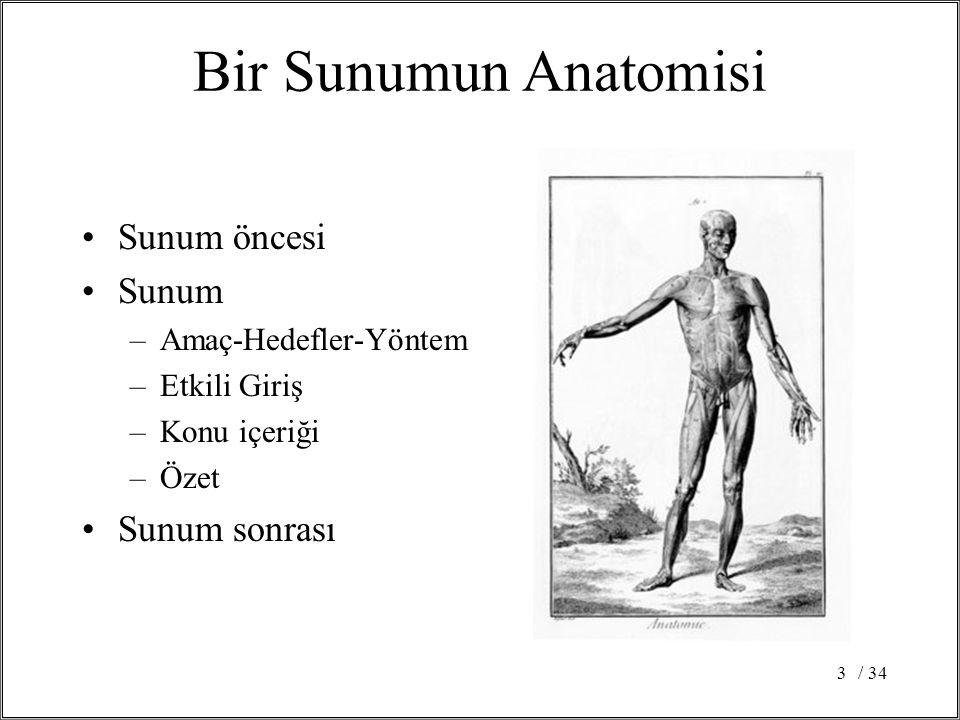 / 343 Bir Sunumun Anatomisi •Sunum öncesi •Sunum –Amaç-Hedefler-Yöntem –Etkili Giriş –Konu içeriği –Özet •Sunum sonrası