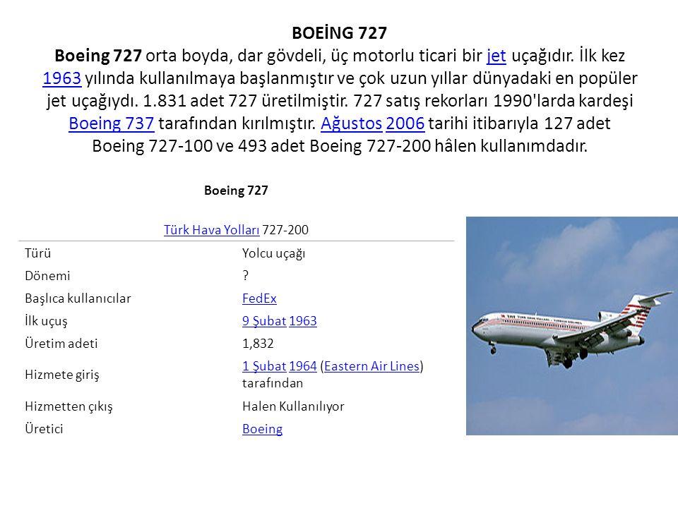 BOEİNG 737 Boeing 737 kısa ve orta mesafe menzilli, tek koridorlu, dar gövdeli ve düşük fiyatlı, jet motorlu havayolu uçağıdır.