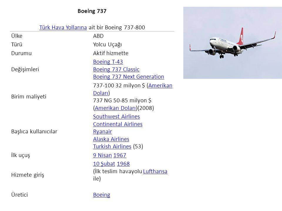 Boeing 767 Boeing 767, Amerikan yapımı, orta menzilli, geniş-vücutlu, iki motorlu yolcu ve kargo taşımacılığında kullanılan uçaktır: 767-200 // 767-200ER // 767-300 // 767-300ER // // 767-400ER // 767-300F Kargo olmak üzere 6 modeli vardır.