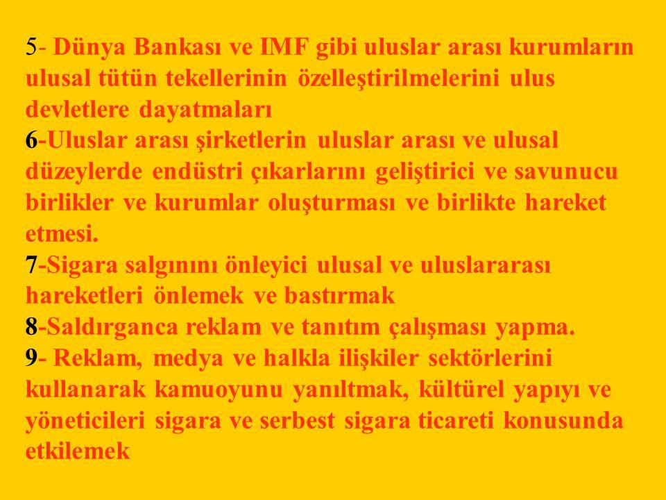 5- Dünya Bankası ve IMF gibi uluslar arası kurumların ulusal tütün tekellerinin özelleştirilmelerini ulus devletlere dayatmaları 6-Uluslar arası şirke