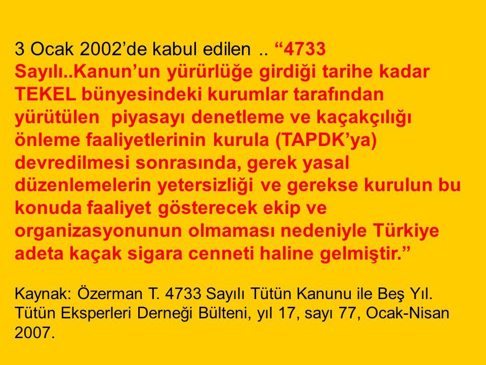 """3 Ocak 2002'de kabul edilen.. """"4733 Sayılı..Kanun'un yürürlüğe girdiği tarihe kadar TEKEL bünyesindeki kurumlar tarafından yürütülen piyasayı denetlem"""