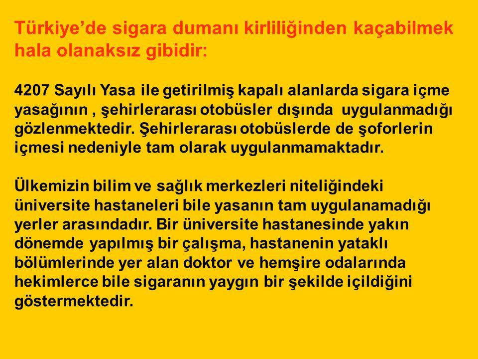 Türkiye'de sigara dumanı kirliliğinden kaçabilmek hala olanaksız gibidir: 4207 Sayılı Yasa ile getirilmiş kapalı alanlarda sigara içme yasağının, şehi