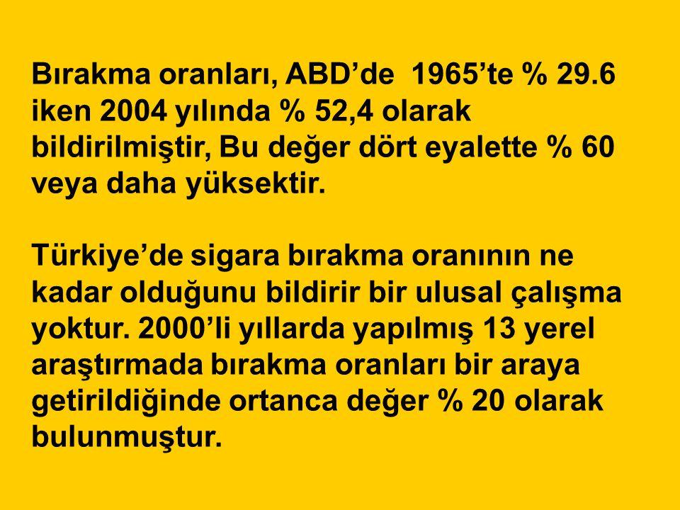 Bırakma oranları, ABD'de 1965'te % 29.6 iken 2004 yılında % 52,4 olarak bildirilmiştir, Bu değer dört eyalette % 60 veya daha yüksektir. Türkiye'de si