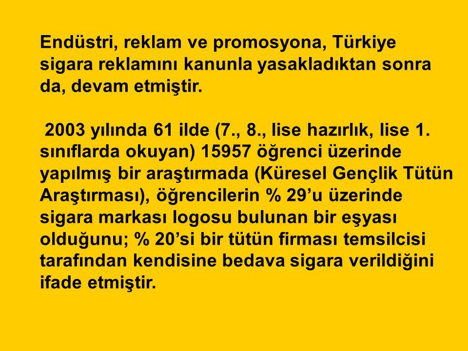 Endüstri, reklam ve promosyona, Türkiye sigara reklamını kanunla yasakladıktan sonra da, devam etmiştir. 2003 yılında 61 ilde (7., 8., lise hazırlık,