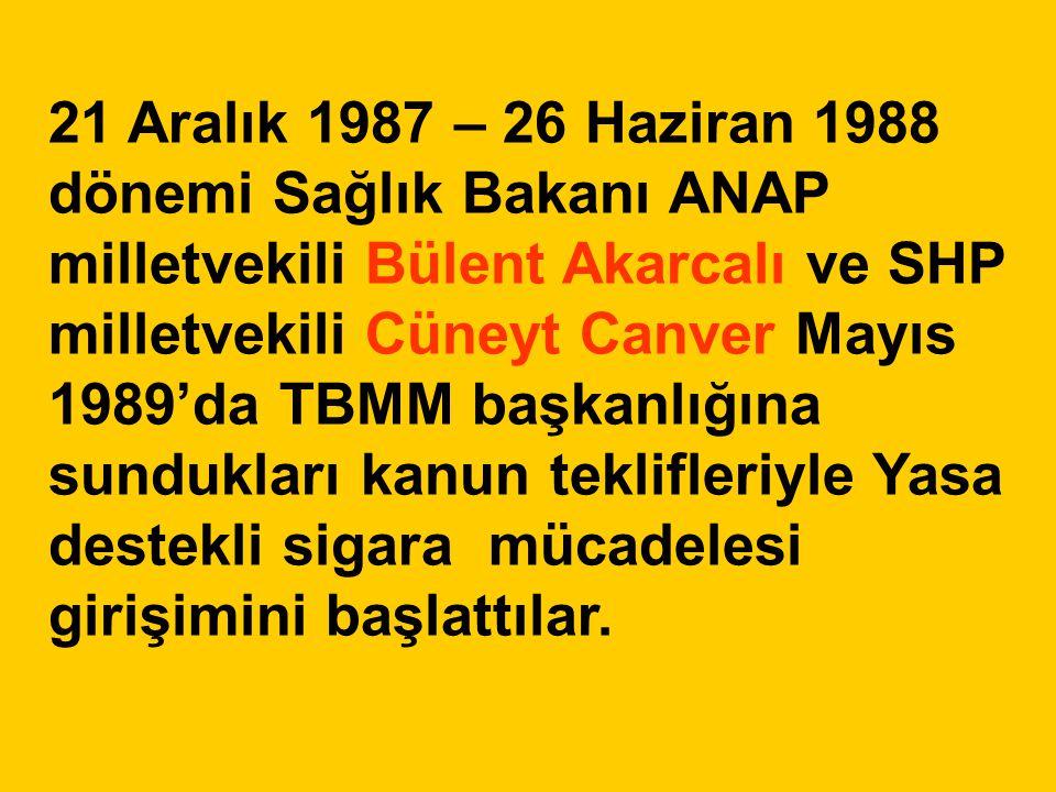 21 Aralık 1987 – 26 Haziran 1988 dönemi Sağlık Bakanı ANAP milletvekili Bülent Akarcalı ve SHP milletvekili Cüneyt Canver Mayıs 1989'da TBMM başkanlığ