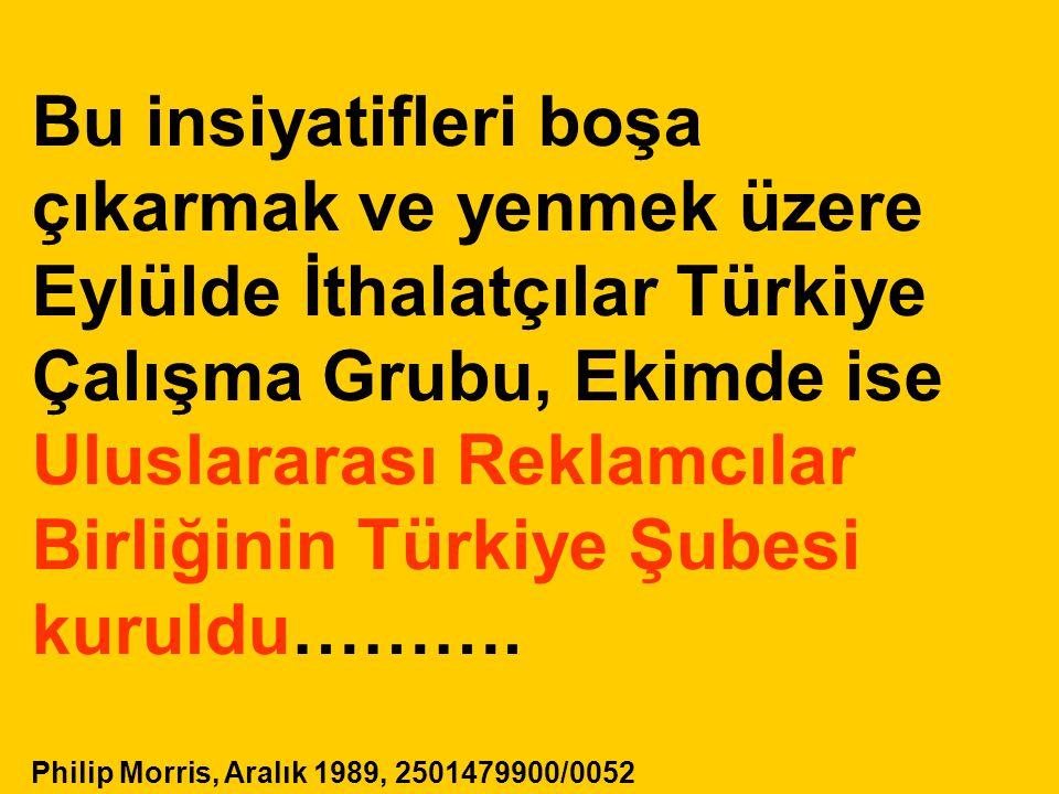 Bu insiyatifleri boşa çıkarmak ve yenmek üzere Eylülde İthalatçılar Türkiye Çalışma Grubu, Ekimde ise Uluslararası Reklamcılar Birliğinin Türkiye Şube