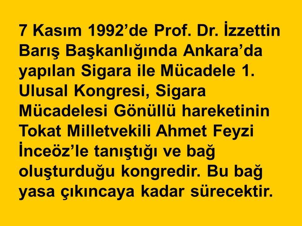 7 Kasım 1992'de Prof. Dr. İzzettin Barış Başkanlığında Ankara'da yapılan Sigara ile Mücadele 1. Ulusal Kongresi, Sigara Mücadelesi Gönüllü hareketinin