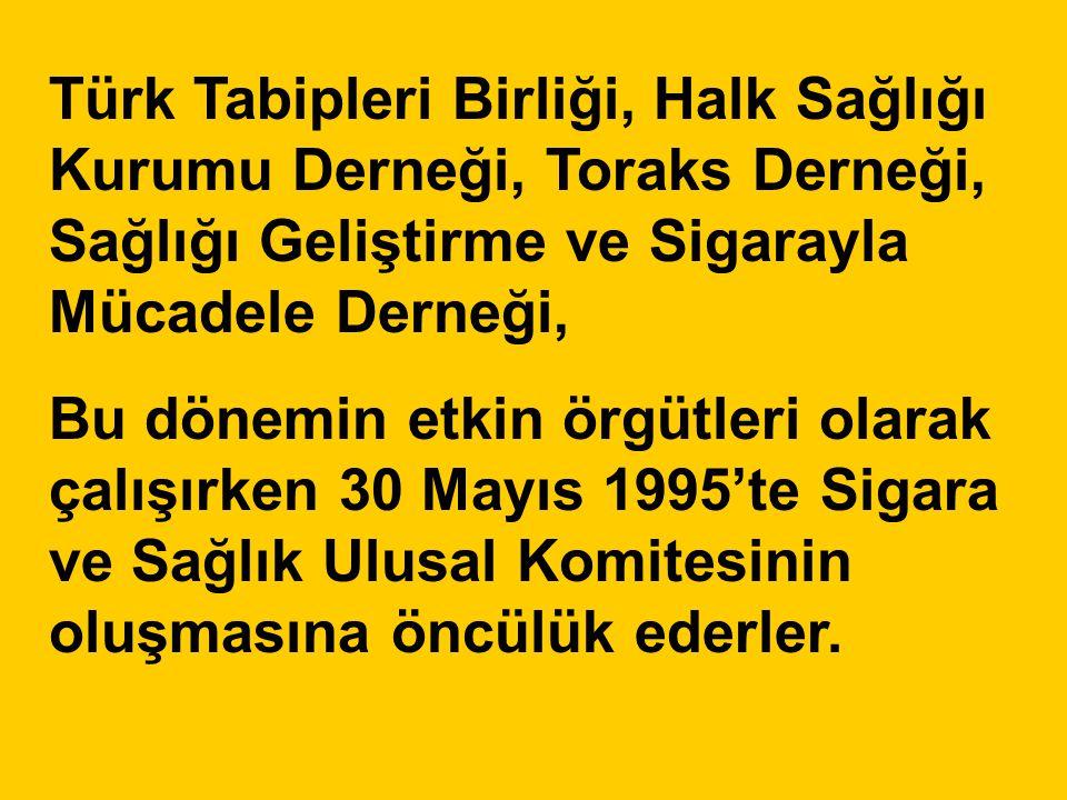 Türk Tabipleri Birliği, Halk Sağlığı Kurumu Derneği, Toraks Derneği, Sağlığı Geliştirme ve Sigarayla Mücadele Derneği, Bu dönemin etkin örgütleri olar
