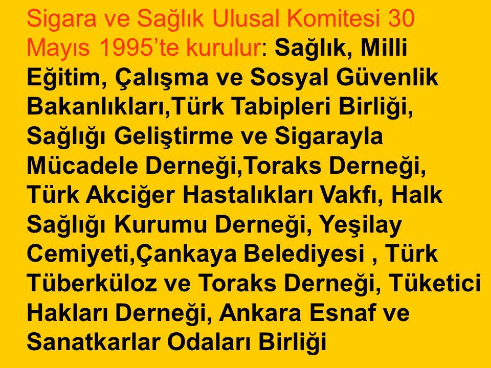 Sigara ve Sağlık Ulusal Komitesi 30 Mayıs 1995'te kurulur: Sağlık, Milli Eğitim, Çalışma ve Sosyal Güvenlik Bakanlıkları,Türk Tabipleri Birliği, Sağlı