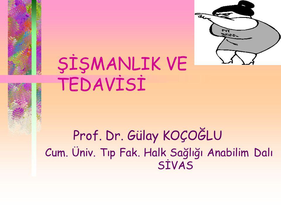 ŞİŞMANLIK VE TEDAVİSİ Prof. Dr. Gülay KOÇOĞLU Cum. Üniv. Tıp Fak. Halk Sağlığı Anabilim Dalı SİVAS