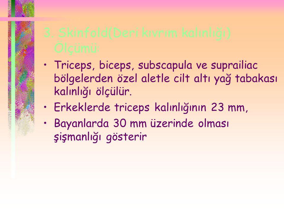 3. Skinfold(Deri kıvrım kalınlığı) Ölçümü : •Triceps, biceps, subscapula ve suprailiac bölgelerden özel aletle cilt altı yağ tabakası kalınlığı ölçülü