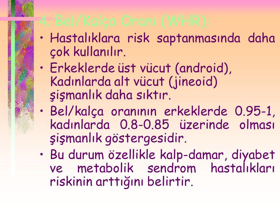 4.Bel/Kalça Oranı (WHR): •Hastalıklara risk saptanmasında daha çok kullanılır.