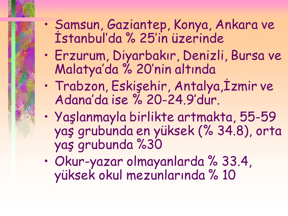 •Samsun, Gaziantep, Konya, Ankara ve İstanbul'da % 25'in üzerinde •Erzurum, Diyarbakır, Denizli, Bursa ve Malatya'da % 20'nin altında •Trabzon, Eskişehir, Antalya,İzmir ve Adana'da ise % 20-24.9'dur.