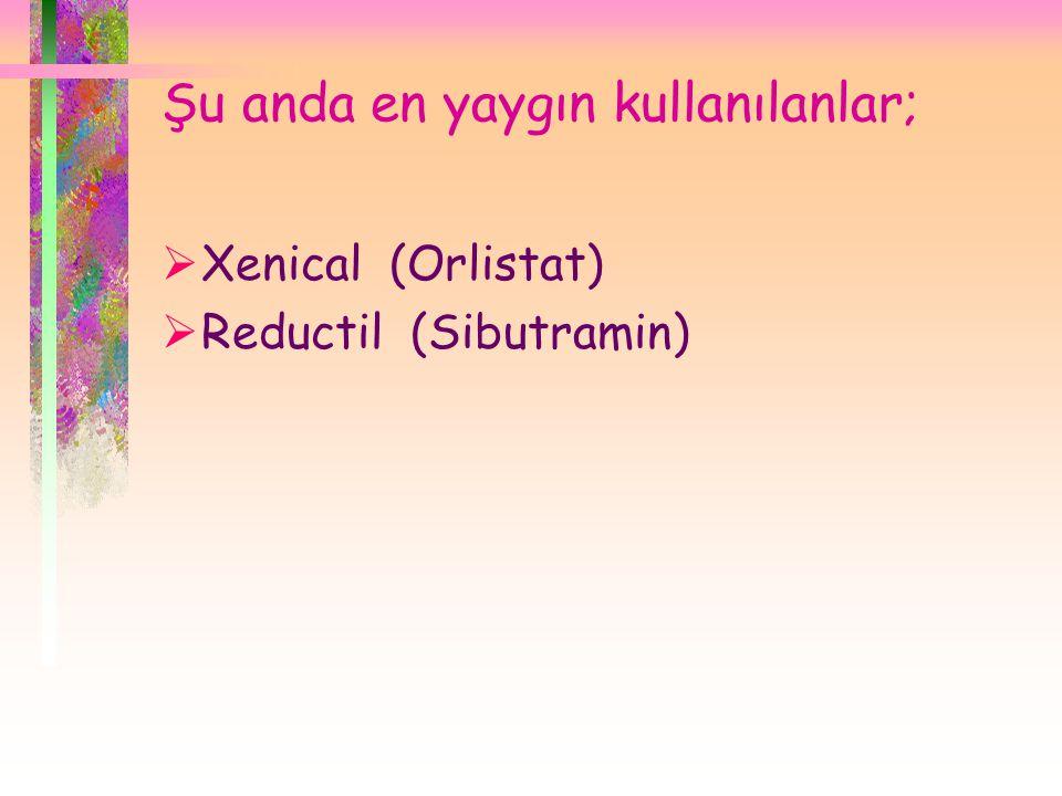 Şu anda en yaygın kullanılanlar;  Xenical (Orlistat)  Reductil (Sibutramin)