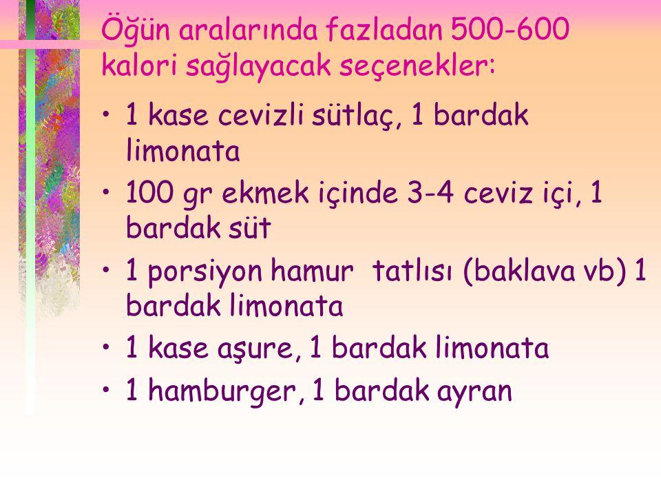 Öğün aralarında fazladan 500-600 kalori sağlayacak seçenekler: •1 kase cevizli sütlaç, 1 bardak limonata •100 gr ekmek içinde 3-4 ceviz içi, 1 bardak süt •1 porsiyon hamur tatlısı (baklava vb) 1 bardak limonata •1 kase aşure, 1 bardak limonata •1 hamburger, 1 bardak ayran