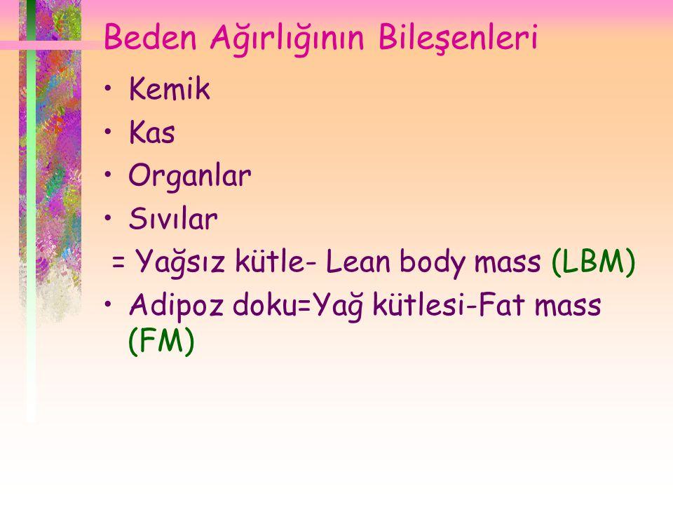 Beden Ağırlığının Bileşenleri •Kemik •Kas •Organlar •Sıvılar = Yağsız kütle- Lean body mass (LBM) •Adipoz doku=Yağ kütlesi-Fat mass (FM)
