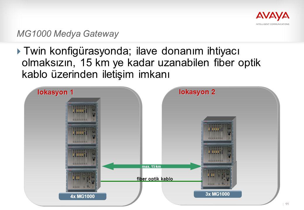 11 MG1000 Medya Gateway  Twin konfigürasyonda; ilave donanım ihtiyacı olmaksızın, 15 km ye kadar uzanabilen fiber optik kablo üzerinden iletişim imkanı max.