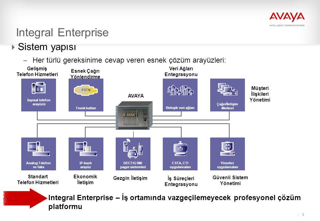 3 Integral Enterprise – İş ortamında vazgeçilemeyecek profesyonel çözüm platformu Integral Enterprise  Sistem yapısı – Her türlü gereksinime cevap veren esnek çözüm arayüzleri: Sayısal telefon arayüzü DECT/GSM/ pager sistemleri Yönetici uygulamaları Çağrı/İletişim Merkezi CSTA, CTI uygulamaları Birleşik veri ağları Trunk hatları PSTN IP-bazlı arayüz Analog Telefon ve faks Gezgin İletişim İş Süreçleri Entegrasyonu Güvenli Sistem Yönetimi Müşteri İlişkileri Yönetimi Veri Ağları Entegrasyonu Ekonomik İletişim Standart Telefon Hizmetleri Gelişmiş Telefon Hizmetleri Esnek Çağrı Yönlendirme AVAYA