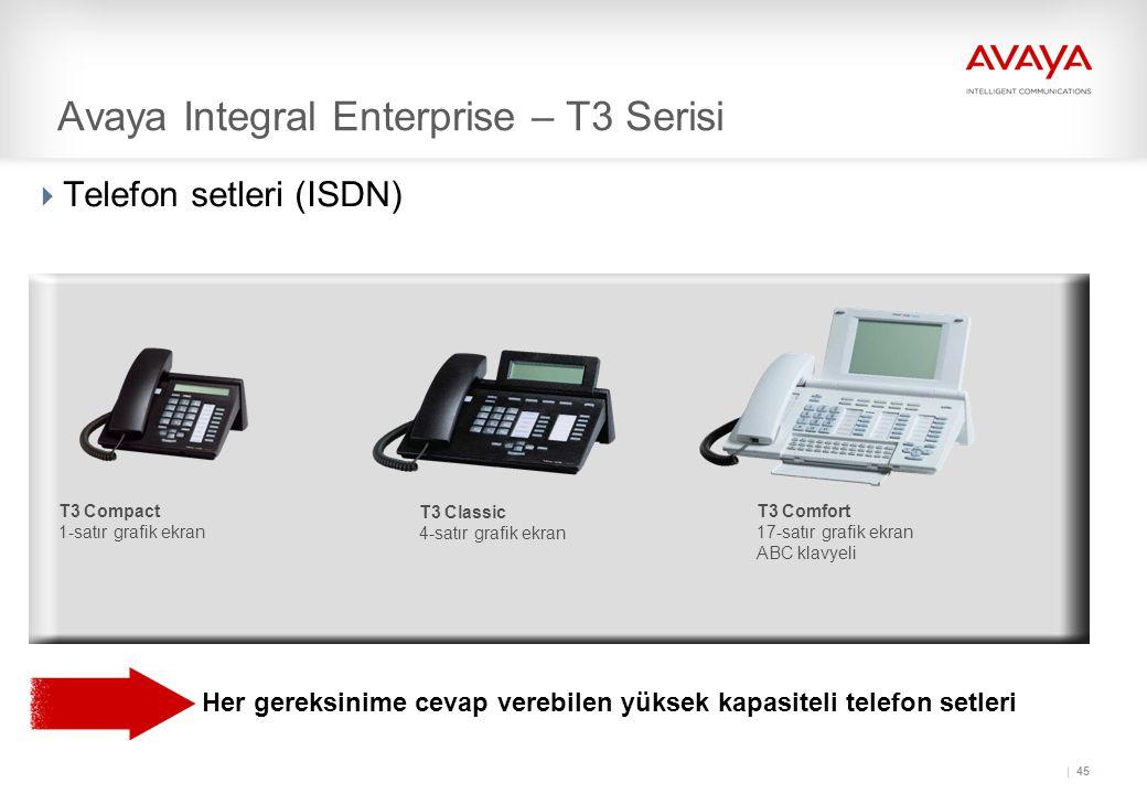 45  Telefon setleri (ISDN) Her gereksinime cevap verebilen yüksek kapasiteli telefon setleri T3 Classic 4-satır grafik ekran T3 Comfort 17-satır grafik ekran ABC klavyeli T3 Compact 1-satır grafik ekran Avaya Integral Enterprise – T3 Serisi