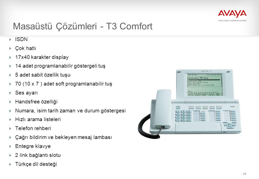 49 Masaüstü Çözümleri - T3 Comfort  ISDN  Çok hatlı  17x40 karakter display  14 adet programlanabilir göstergeli tuş  5 adet sabit özellik tuşu  70 (10 x 7 ) adet soft programlanabilir tuş  Ses ayarı  Handsfree özelliği  Numara, isim tarih zaman ve durum göstergesi  Hızlı arama listeleri  Telefon rehberi  Çağrı bildirim ve bekleyen mesaj lambası  Entegre klavye  2 link bağlantı slotu  Türkçe dil desteği