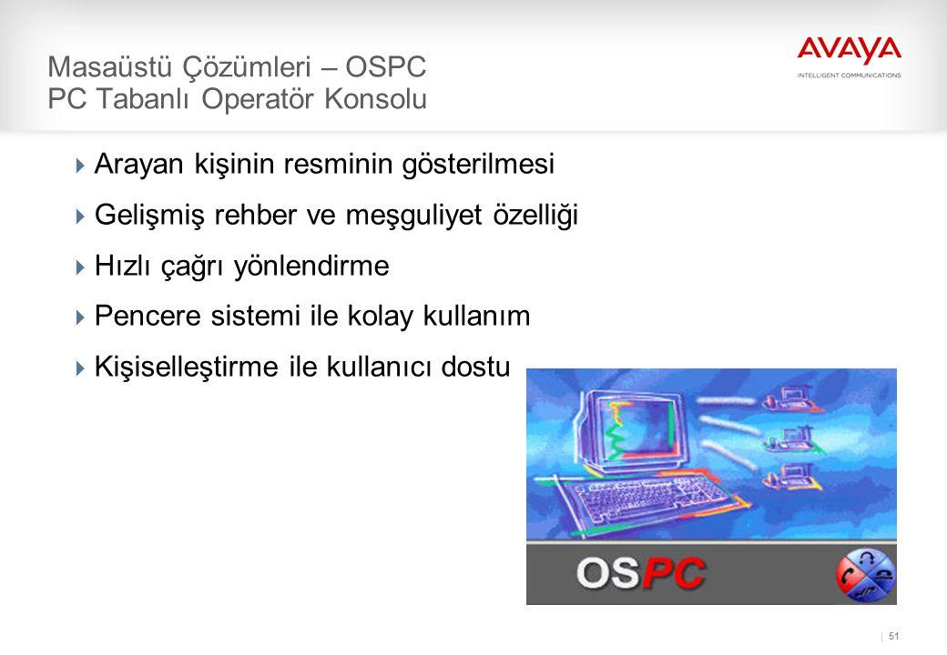 51 Masaüstü Çözümleri – OSPC PC Tabanlı Operatör Konsolu  Arayan kişinin resminin gösterilmesi  Gelişmiş rehber ve meşguliyet özelliği  Hızlı çağrı yönlendirme  Pencere sistemi ile kolay kullanım  Kişiselleştirme ile kullanıcı dostu
