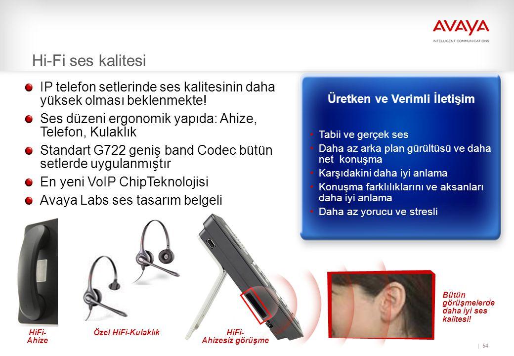 54 HiFi- Ahizesiz görüşme Hi-Fi ses kalitesi Bütün görüşmelerde daha iyi ses kalitesi.